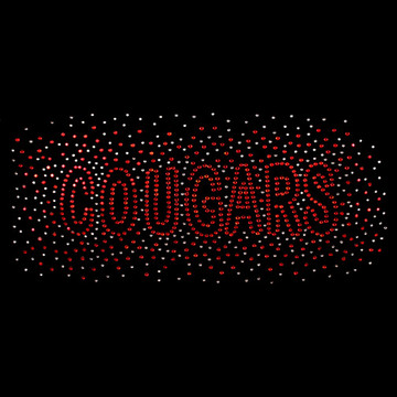 HP15-C- Cougars - Red/Clear Rhinestone