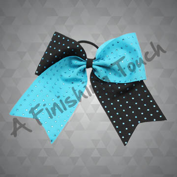 919- One-Layer Two-Tone Cheer Bow with Rhinstones