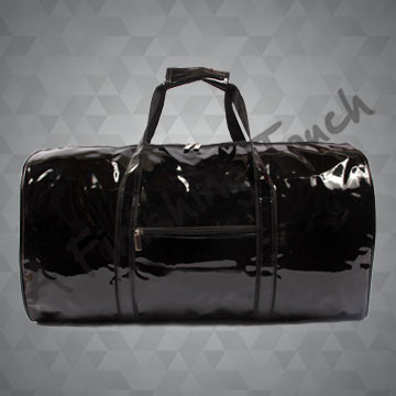 B119- Black Patent Duffel Bag