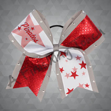 907A- Team Name with Stars Cheer Bow