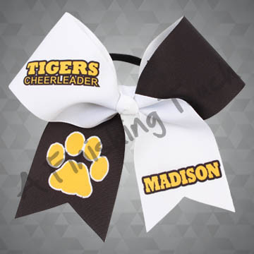 "924A- Large ""Team"" Cheerleader with Large Paw Print / Name Cheer Bow"