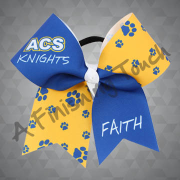 924C- Large School Initials and Mascot with Name Cheer Bow
