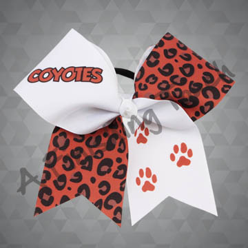 924K- Large Mascot Name with Paws Cheer Bow