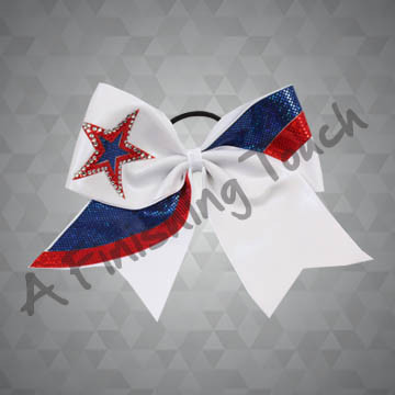 945- Tri-Color Cheer Bow with Two-Color Star