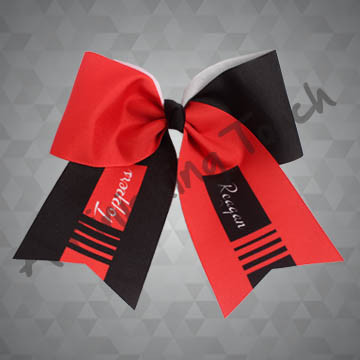 924G1- Large Two-Tone Cheer Bow with Scattered Stripes