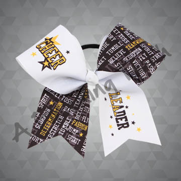924W- Large Cheer Leader with Prints / Stars Cheer Bow