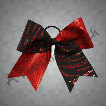 958- Random Lines Sequins Cheer Bow