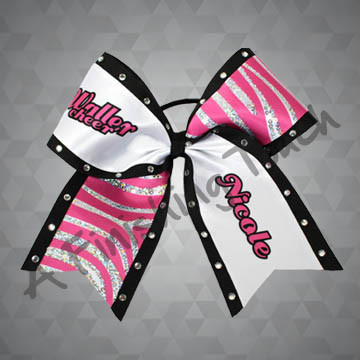 "976- School ""Cheer"" Bow with Individual Name / Sequins Cheer Bow"