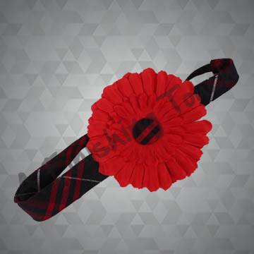 977- Flower on Narrow Plaid Headband