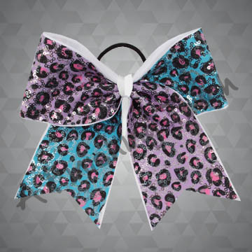 987- Two-Tone Leopard Cheer Bow with Sequins