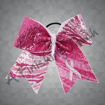 988- Pink Ribbon Cheer Bow with Sequins