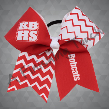 1003A- School Initials with Name Chevron Cheer Bow