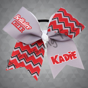 "1003G - School Name with ""CHEER"" and Individual Names Chevron Cheer Bow"