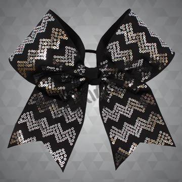 1006 - Chevron Cheer Bow with Sequins