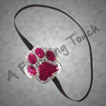 1009A- Two-Color Paw Canvas Glitter Headband