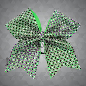 1165- Two-Tone Two-Color Rhinestone Mesh Cheer Bow