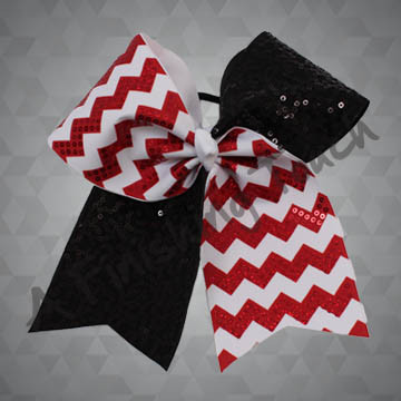 1180- Two Tone Chevron Cheer Bow with Sequins & Dazzle Sequins