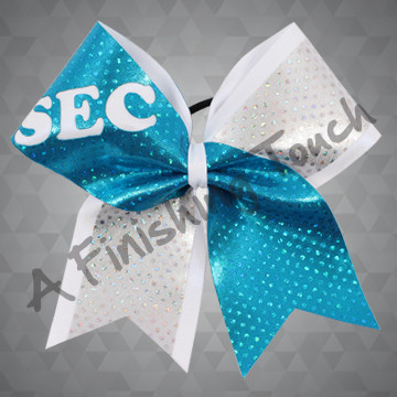 1232- Two Tone Glitz Bow with Cut-Out Letters