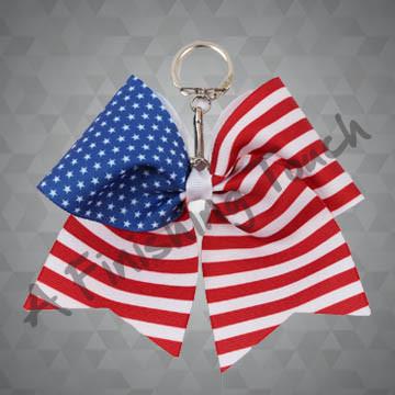 G133O2- American Flag Keychain Bow