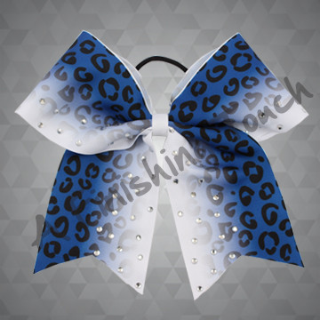 1276- Gradient Cheetah Sublimation Bow with Classic Rhinestones