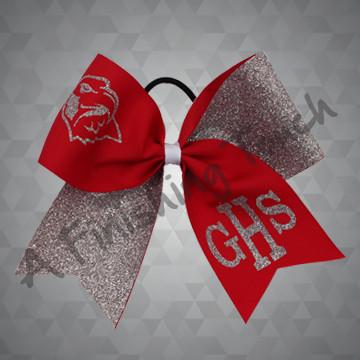 1296- Glitter Mascot & Initials Cheer Bow