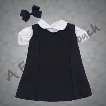 FT156- A-Line Doll Jumper with Blouse and Bow for 18 inch doll