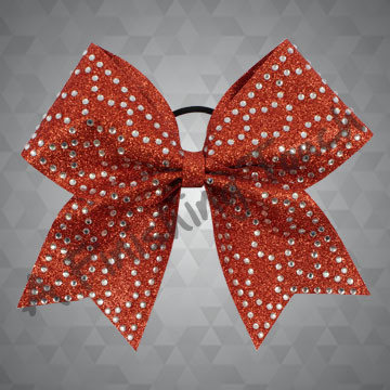 1346- Glitter bow with Scattered Classic Rhinestones