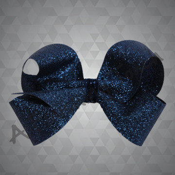 1333- Small Four Loop Glitter Bow with Glitter Wrap