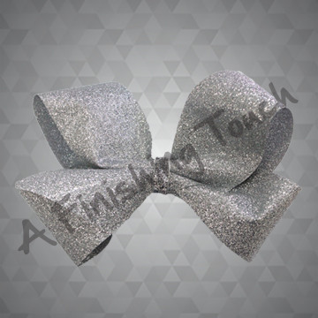 1338- Large Four Loop Glitter Bow with Glitter Wrap