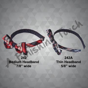 242- Flat Plaid Headband w/Bow