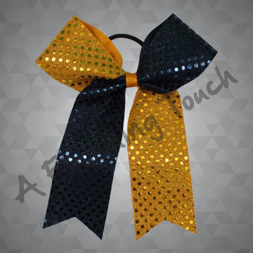384- Two-Tone Cheer Bow with Tails
