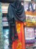 Pashmina from Oman: Fur Collar & Pom Pom Trim-Black
