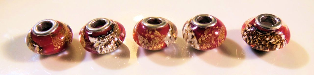 Rusty Orange Murano Glass with gold flakes on sterling silver. Fits Pandora.