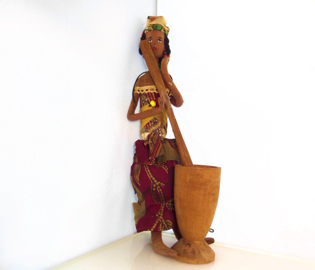 African Mother & Child- Stiring a Pot - Vintage Handmade Doll