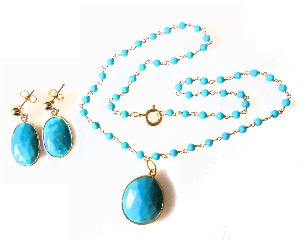 Turquoise pendant on beaded twisted wire necklace.