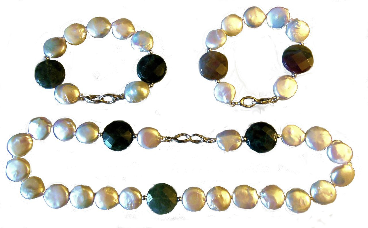 Coin Pearls with Watermelon Tourmaline