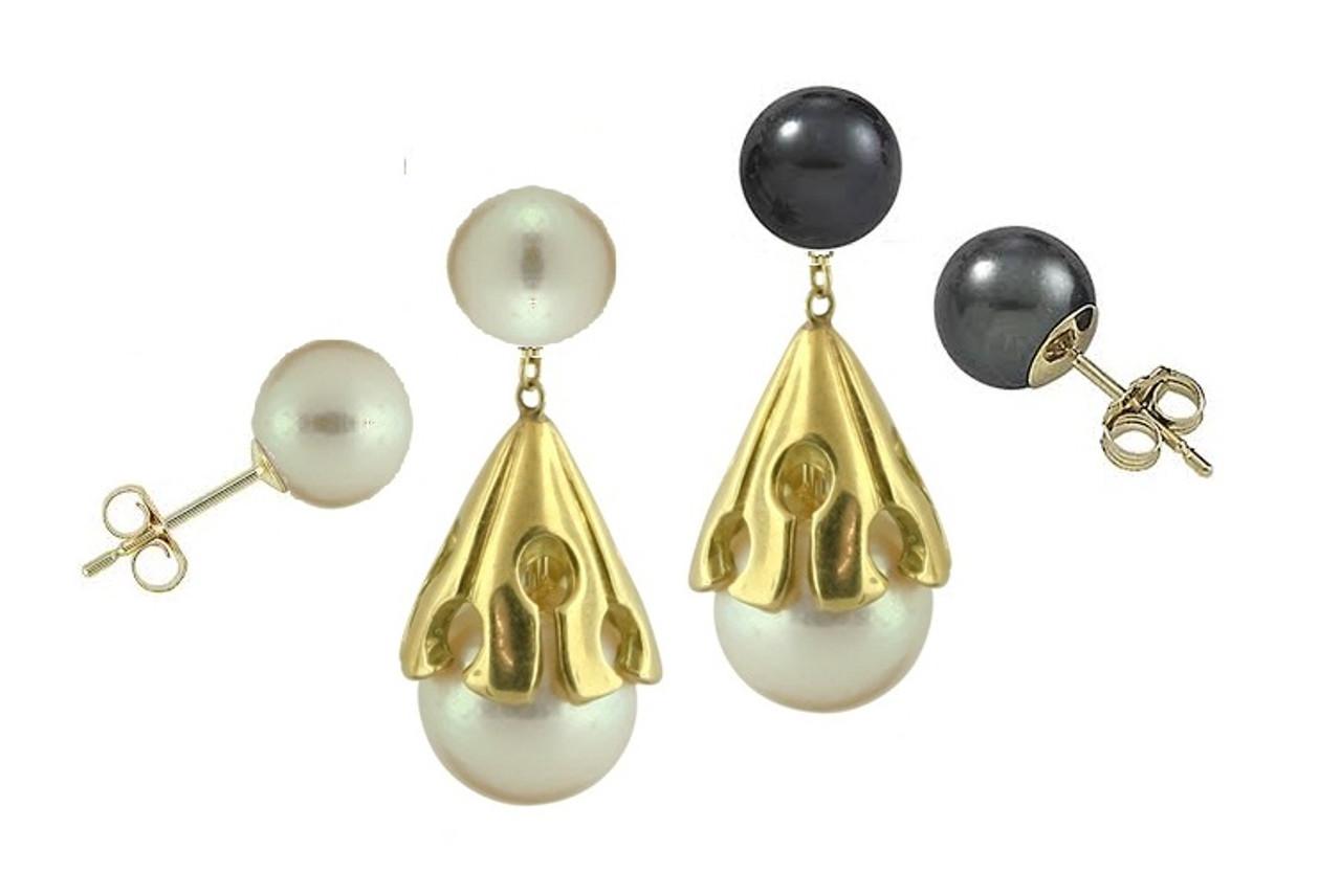 Akoya pearl drop earring-14K