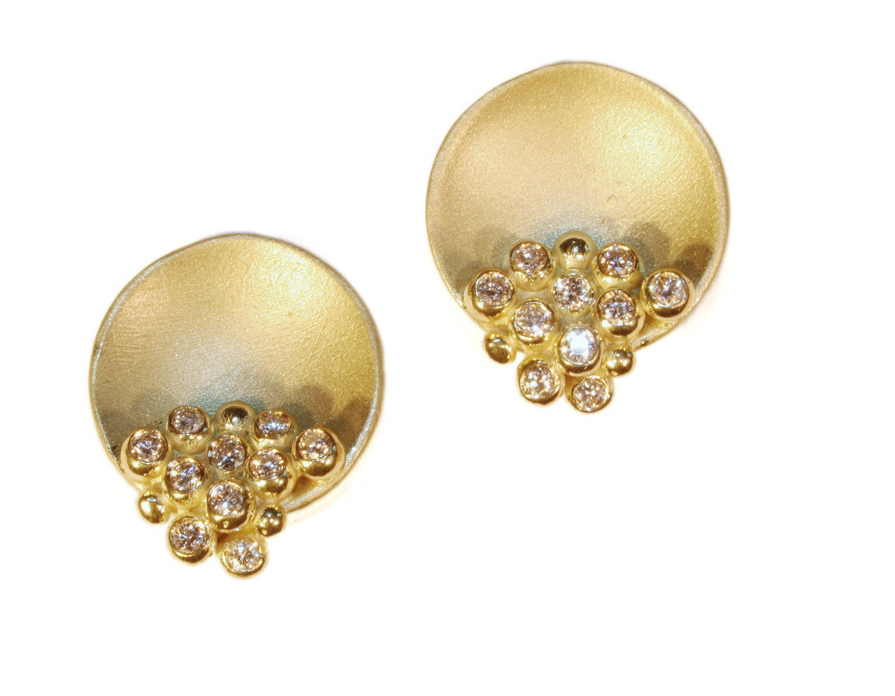Bowl of Overflowing Diamonds-Earrings-14K gold
