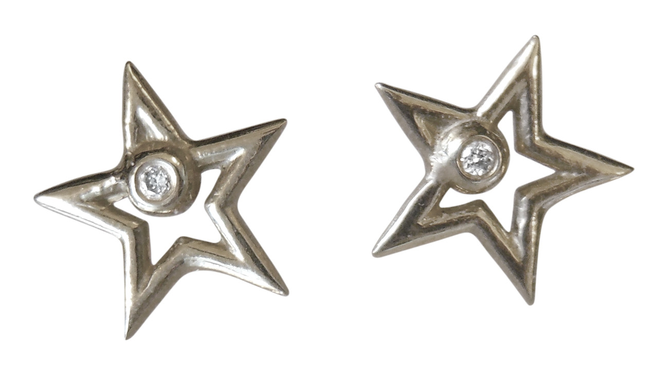 Stars Earrings-open-Sterling with plate options