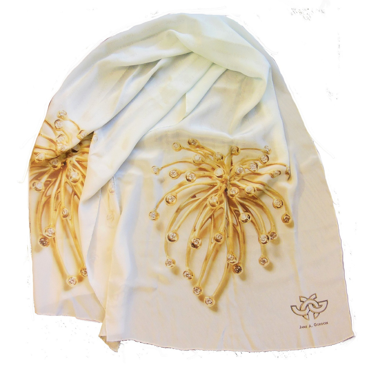 Silk Scarf with Fireworks Superstar deign, because Life is a celebration. Won't it look fabulous with the actual jewelry?