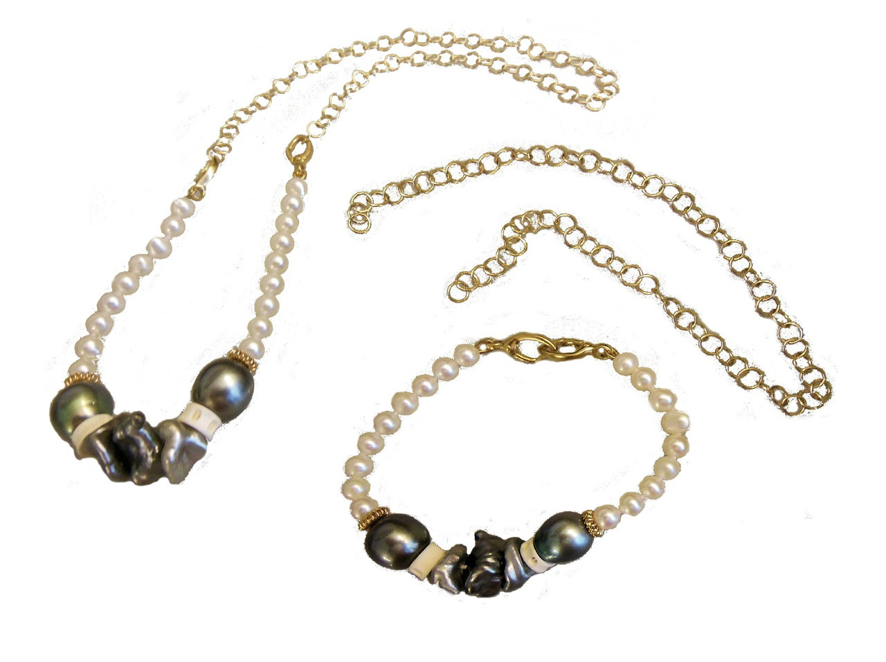 Tahitian and Chinese pearls convertable necklace/ bracelet