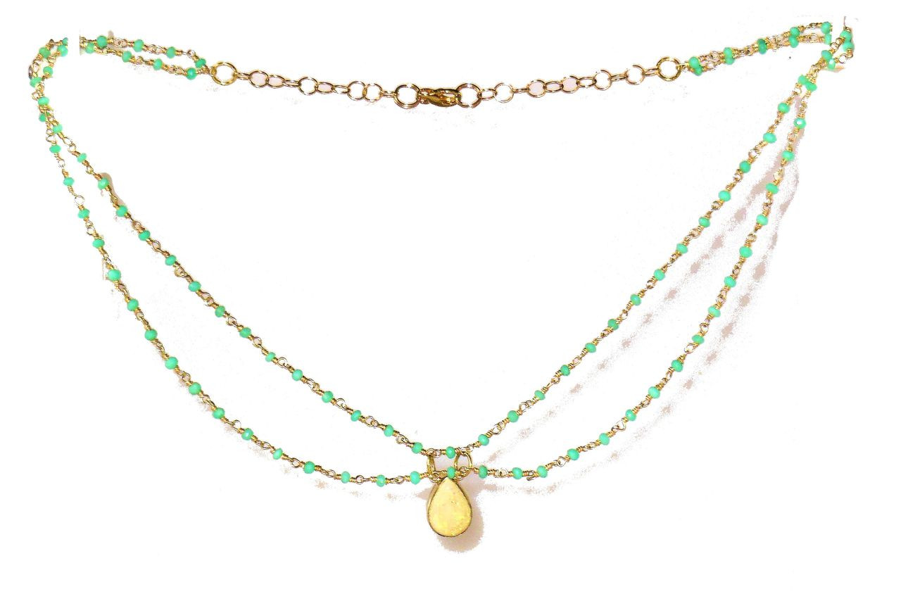 Ethiopian Opal on Chrisoprace wire wrapped double necklace