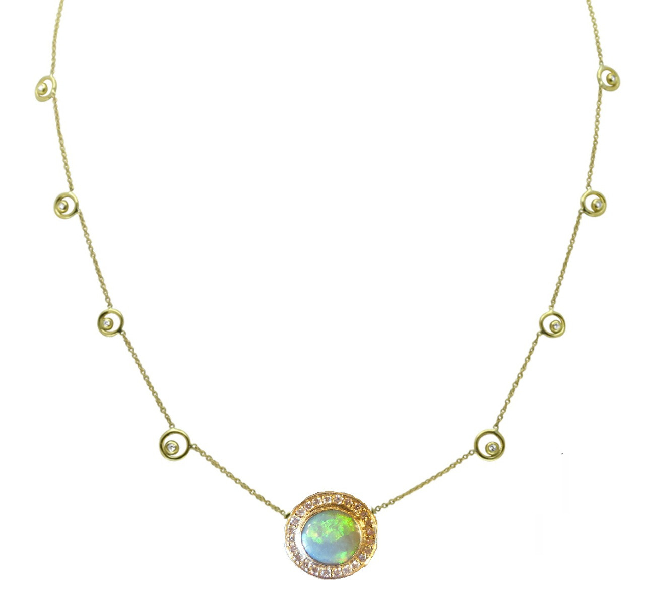 Australian Opal with diamonds on Karma Chain