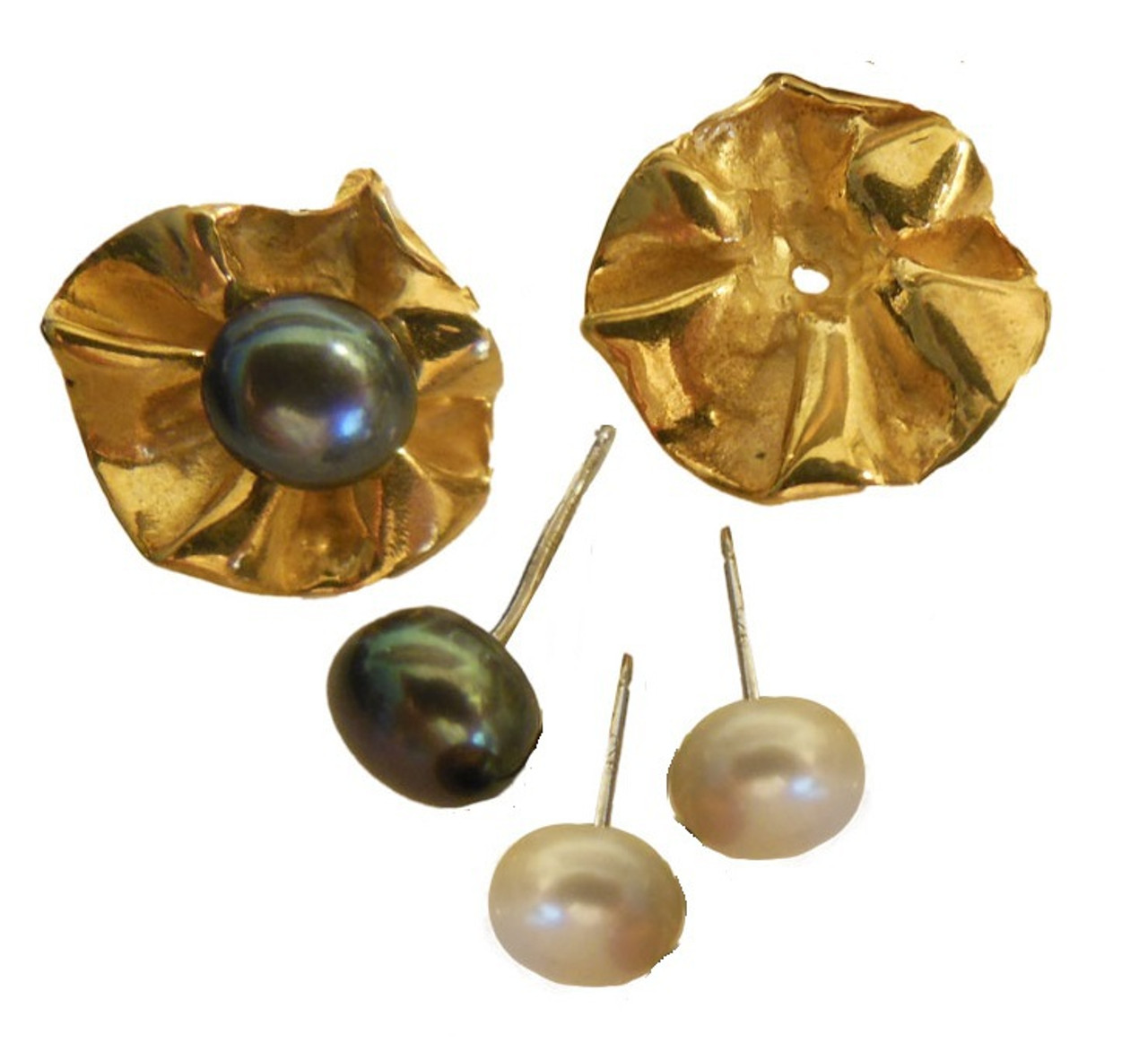 Ruffle Earring Jackets with 2 pearl stud earrings.   Silver with rhodium or 18K gold plate.