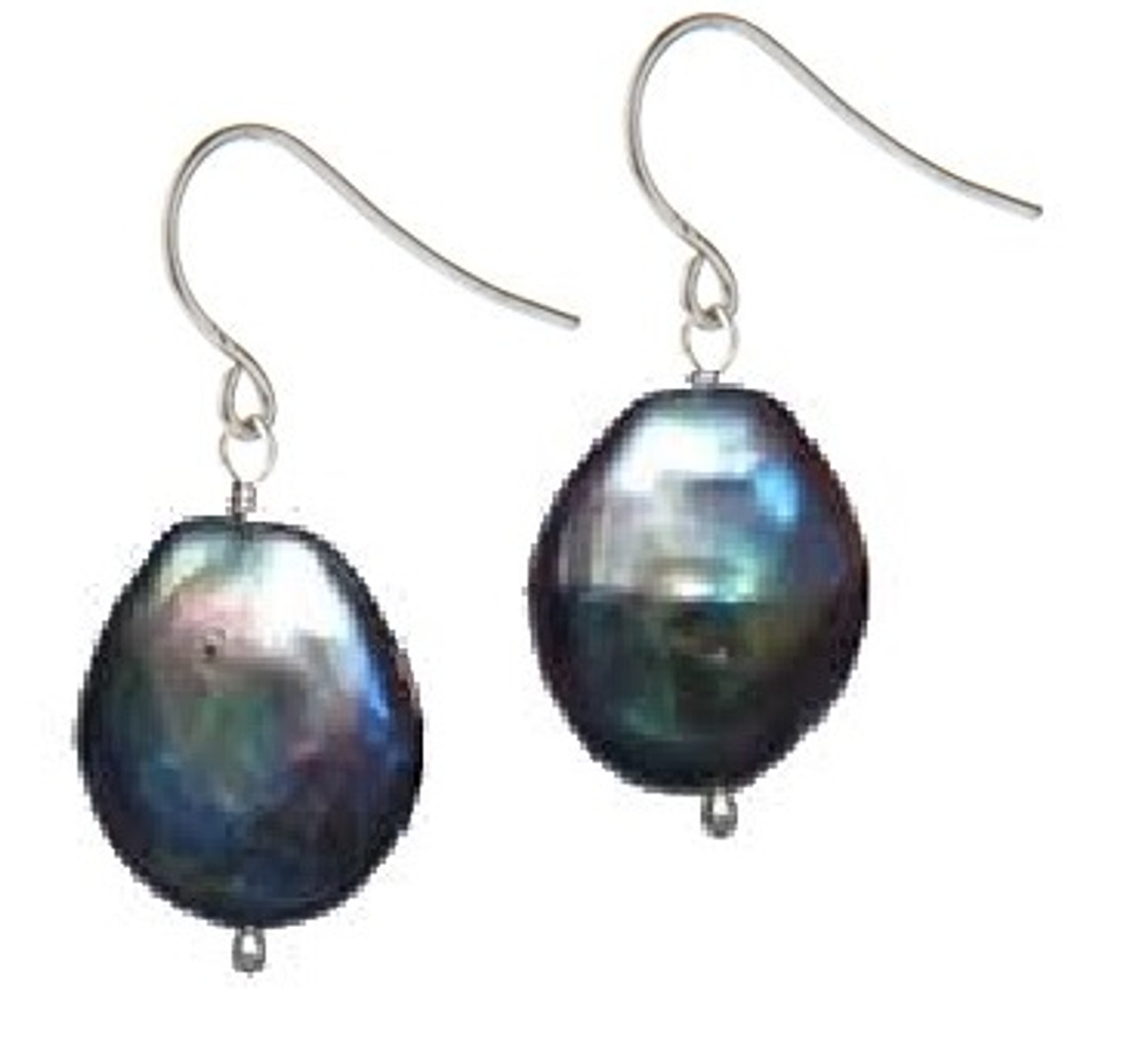 Coin Pearl Earrings-Black with rainbow overtones
