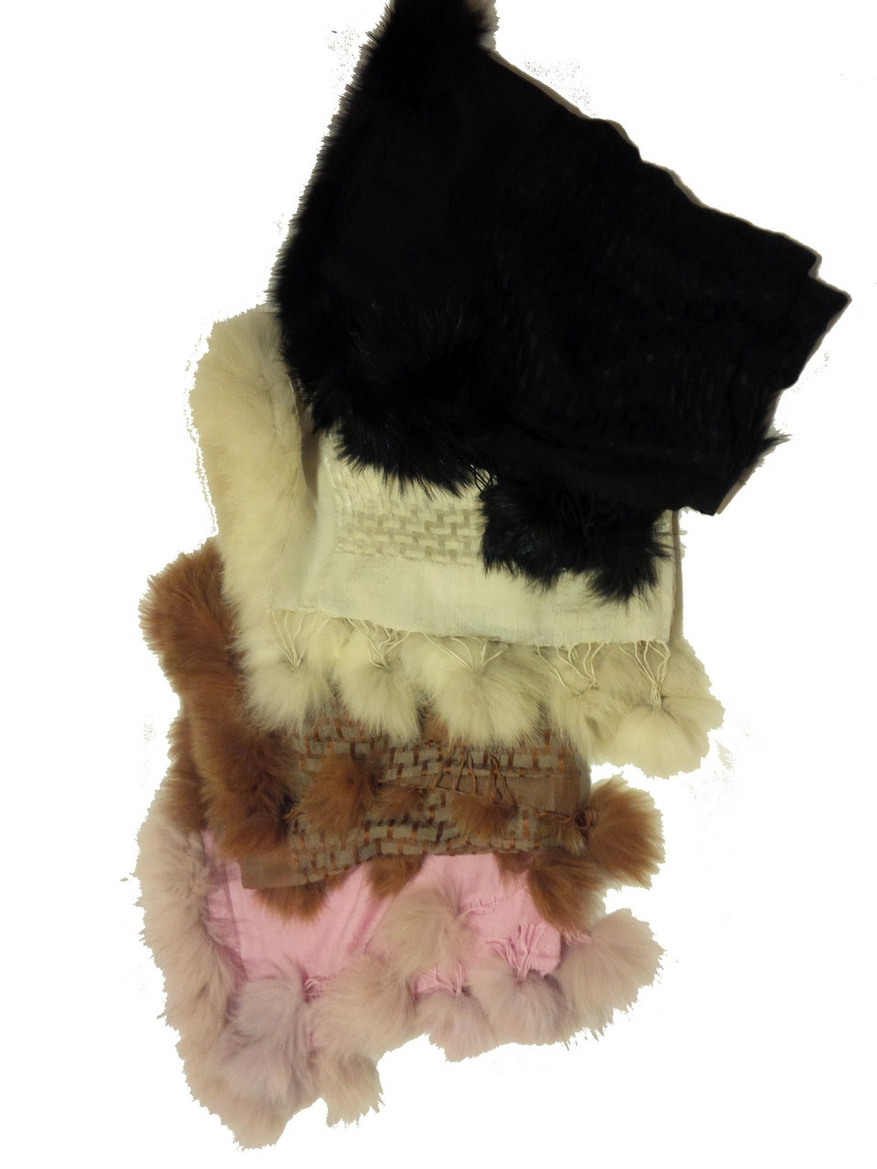 Pashmina from Oman. Fur Trim & Pom Poms-Pink