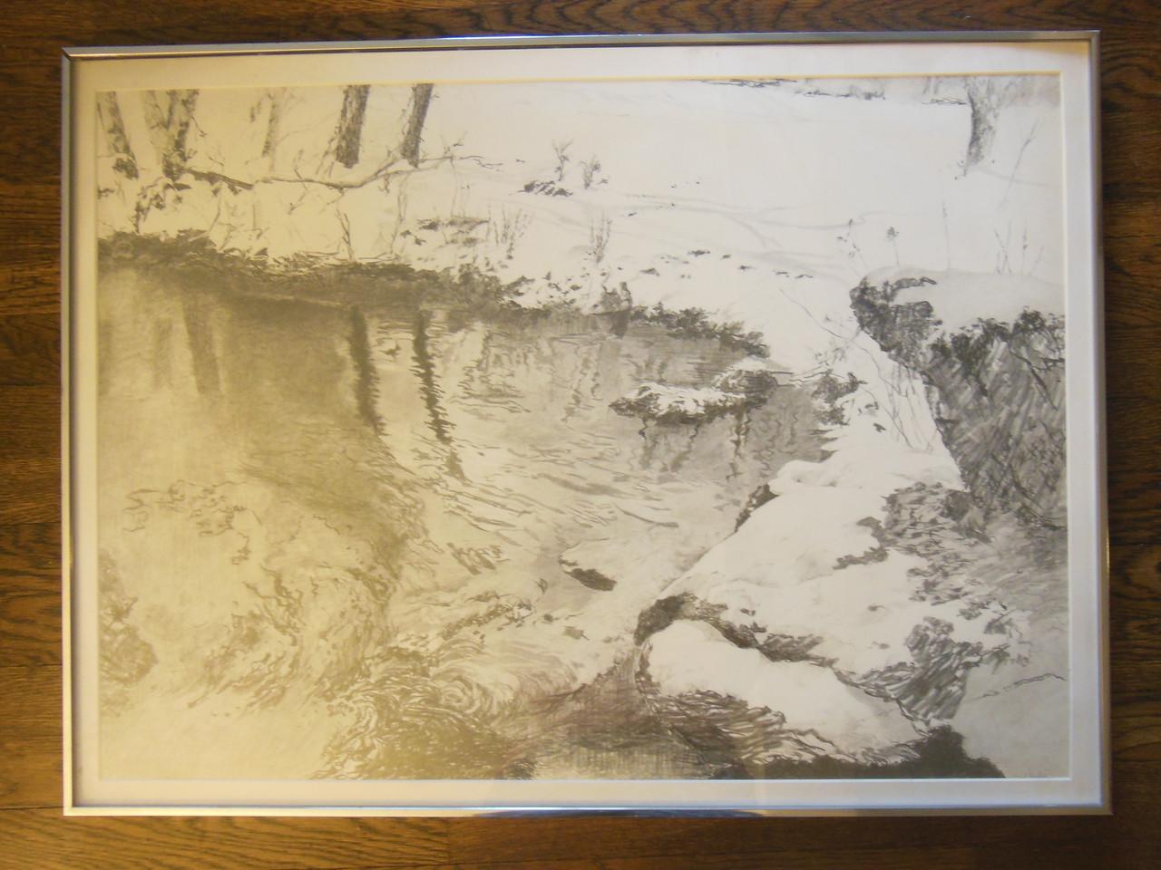 Carol Kardon. Snowy Landscape. Framed drawing