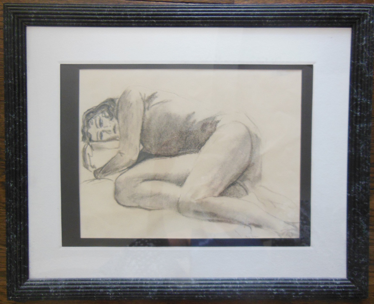 High School Nap - Pencil on Paper - Framed