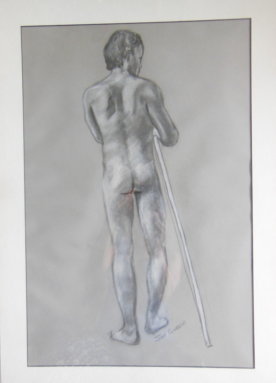 For John Pastel and charcoal on paper by Jane A Gordon