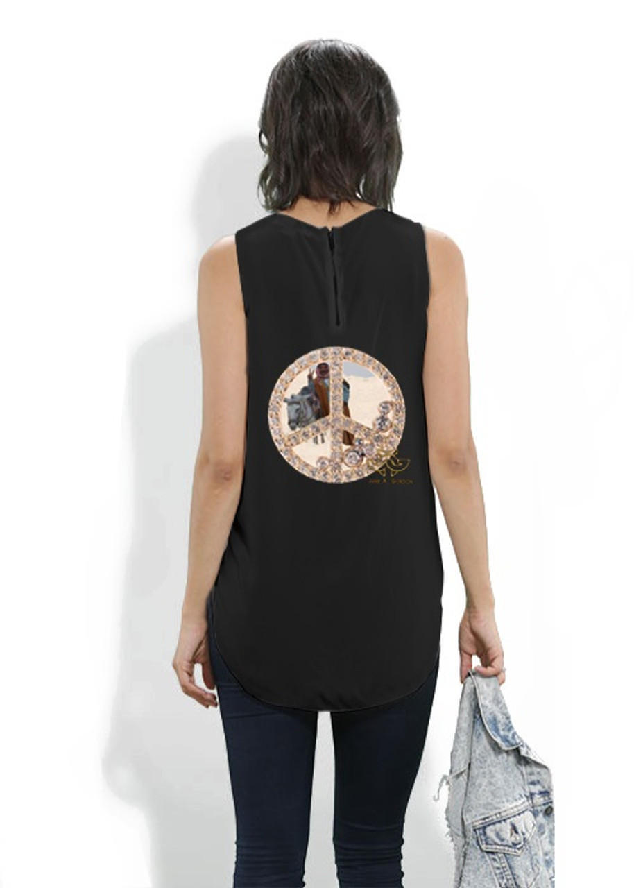 Silk sleeveless shirt. Art meets Fashion. Peace inside Peace, Cairo Egypt